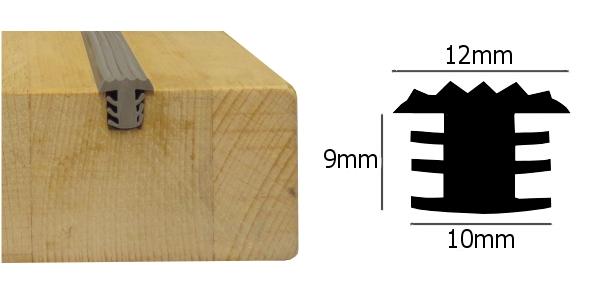 Anti slip rubber strip voor houten treden donker grijs