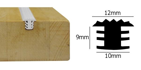 Anti slip rubber strip voor houten treden licht grijs 1m
