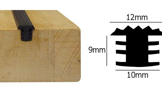 Anti slip rubber strip voor houten treden zwart